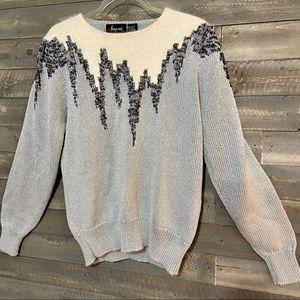 Vtg 80s Angenie Sweater With Metallic Threads